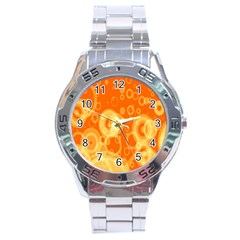 Retro Orange Circle Background Abstract Stainless Steel Analogue Watch
