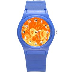 Retro Orange Circle Background Abstract Round Plastic Sport Watch (s)