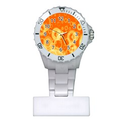 Retro Orange Circle Background Abstract Plastic Nurses Watch