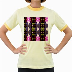 Geometric Abstract Background Art Women s Fitted Ringer T-Shirts