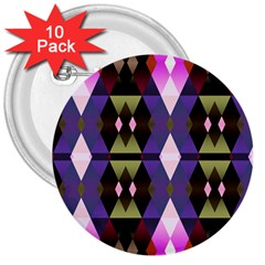Geometric Abstract Background Art 3  Buttons (10 pack)