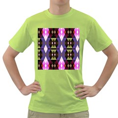 Geometric Abstract Background Art Green T-Shirt