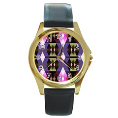 Geometric Abstract Background Art Round Gold Metal Watch