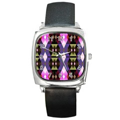 Geometric Abstract Background Art Square Metal Watch