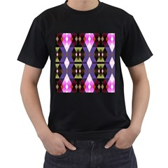 Geometric Abstract Background Art Men s T-Shirt (Black) (Two Sided)