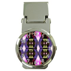 Geometric Abstract Background Art Money Clip Watches