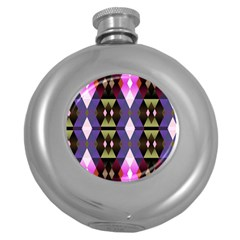 Geometric Abstract Background Art Round Hip Flask (5 oz)