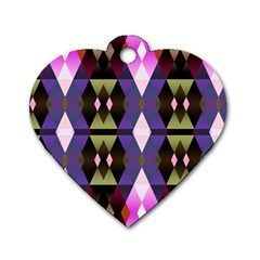 Geometric Abstract Background Art Dog Tag Heart (one Side)