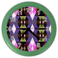 Geometric Abstract Background Art Color Wall Clocks