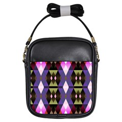 Geometric Abstract Background Art Girls Sling Bags