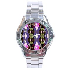 Geometric Abstract Background Art Stainless Steel Analogue Watch