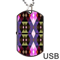 Geometric Abstract Background Art Dog Tag USB Flash (Two Sides)