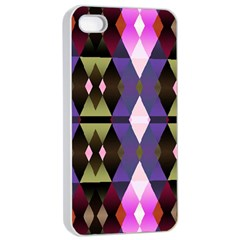 Geometric Abstract Background Art Apple iPhone 4/4s Seamless Case (White)