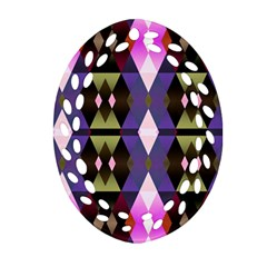 Geometric Abstract Background Art Oval Filigree Ornament (two Sides)