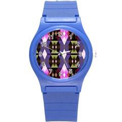 Geometric Abstract Background Art Round Plastic Sport Watch (s)