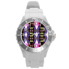 Geometric Abstract Background Art Round Plastic Sport Watch (l)