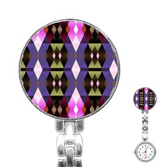 Geometric Abstract Background Art Stainless Steel Nurses Watch