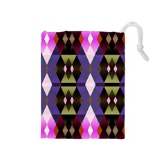 Geometric Abstract Background Art Drawstring Pouches (Medium)