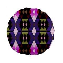Geometric Abstract Background Art Standard 15  Premium Flano Round Cushions