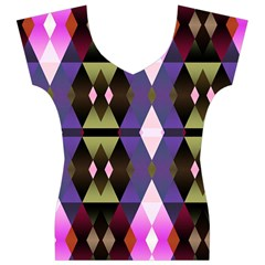 Geometric Abstract Background Art Women s V-Neck Cap Sleeve Top