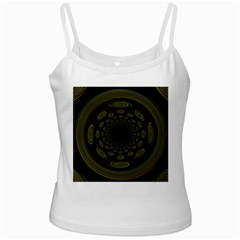 Dark Portal Fractal Esque Background White Spaghetti Tank