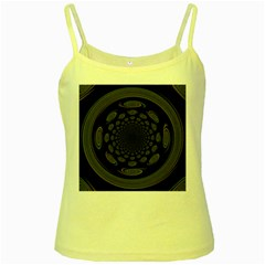 Dark Portal Fractal Esque Background Yellow Spaghetti Tank