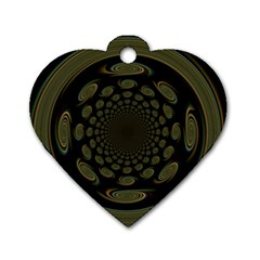 Dark Portal Fractal Esque Background Dog Tag Heart (one Side)