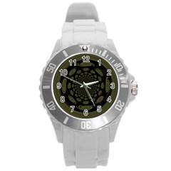 Dark Portal Fractal Esque Background Round Plastic Sport Watch (L)