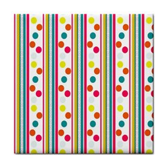 Stripes And Polka Dots Colorful Pattern Wallpaper Background Tile Coasters