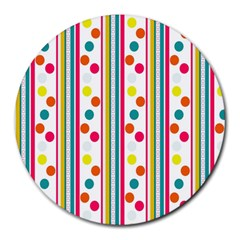 Stripes And Polka Dots Colorful Pattern Wallpaper Background Round Mousepads