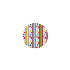 Stripes And Polka Dots Colorful Pattern Wallpaper Background 1  Mini Magnets