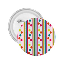 Stripes And Polka Dots Colorful Pattern Wallpaper Background 2.25  Buttons