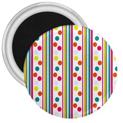 Stripes And Polka Dots Colorful Pattern Wallpaper Background 3  Magnets