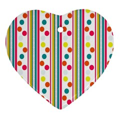 Stripes And Polka Dots Colorful Pattern Wallpaper Background Ornament (heart)