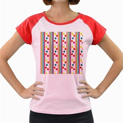Stripes And Polka Dots Colorful Pattern Wallpaper Background Women s Cap Sleeve T-Shirt