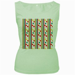 Stripes And Polka Dots Colorful Pattern Wallpaper Background Women s Green Tank Top
