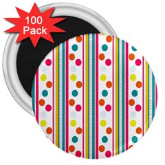 Stripes And Polka Dots Colorful Pattern Wallpaper Background 3  Magnets (100 pack)