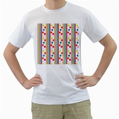 Stripes And Polka Dots Colorful Pattern Wallpaper Background Men s T-Shirt (White) (Two Sided)