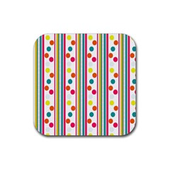 Stripes And Polka Dots Colorful Pattern Wallpaper Background Rubber Square Coaster (4 pack)