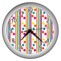 Stripes And Polka Dots Colorful Pattern Wallpaper Background Wall Clocks (silver)
