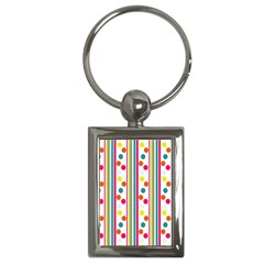 Stripes And Polka Dots Colorful Pattern Wallpaper Background Key Chains (Rectangle)