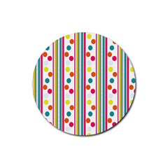 Stripes And Polka Dots Colorful Pattern Wallpaper Background Rubber Coaster (round)