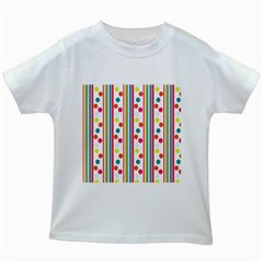 Stripes And Polka Dots Colorful Pattern Wallpaper Background Kids White T-Shirts