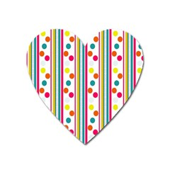 Stripes And Polka Dots Colorful Pattern Wallpaper Background Heart Magnet