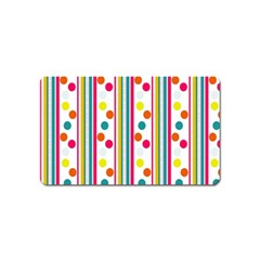 Stripes And Polka Dots Colorful Pattern Wallpaper Background Magnet (name Card)