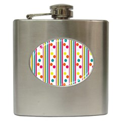 Stripes And Polka Dots Colorful Pattern Wallpaper Background Hip Flask (6 Oz)