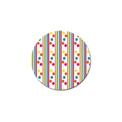 Stripes And Polka Dots Colorful Pattern Wallpaper Background Golf Ball Marker (10 Pack)