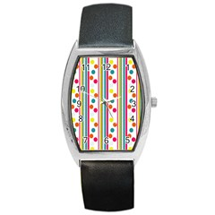 Stripes And Polka Dots Colorful Pattern Wallpaper Background Barrel Style Metal Watch