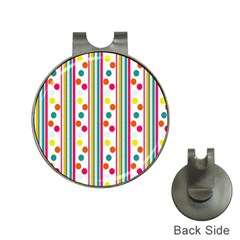 Stripes And Polka Dots Colorful Pattern Wallpaper Background Hat Clips with Golf Markers