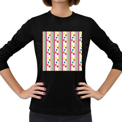 Stripes And Polka Dots Colorful Pattern Wallpaper Background Women s Long Sleeve Dark T-Shirts